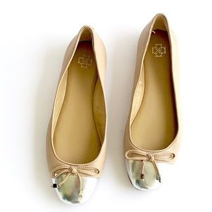 Ann Taylor | leather nude ballet bow flats silver